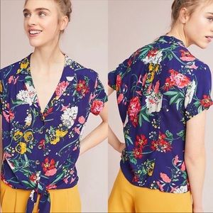Anthropologie Maeve Bateau Floral Button Shirt